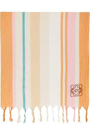 Loewe Damen Schals - Off-White & Orange Stripes Blanket Scarf