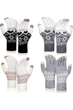 SATINIOR 4 Paare Winter Warme Starke Stricken Handschuh Telefon Simsende Bildschirm Fäustlinge Handschuhe (