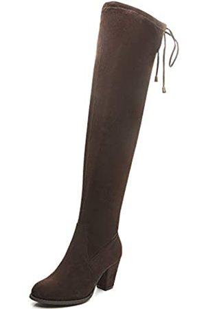 Savaii Damen Stiefel mit rundem Zehenbereich, hoher Absatz, klobig, kniehoch