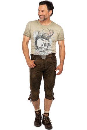 Stockerpoint Herren Lederhosen - Lederhose Kniebund mit Gürtel SIGMAR4 bison gespeckt