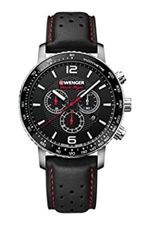 Wenger Unisex Erwachsene Analog Quarz Uhr mit Leder Armband 01.1843.101