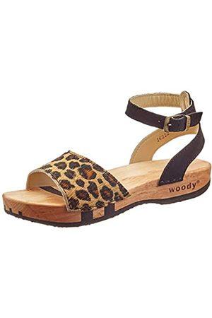 Woody Damen Jana Pantoletten, Mehrfarbig (Leopard 078)