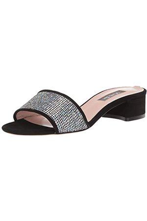 Sjp Damen Ease Block Heel Slide Peeptoe Sandalen, (Black Suede/Scintillate Blksu)