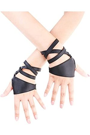 JISEN Fingerlose Damenhandschuhe aus PU-Leder für die Nacht - - Einheitsgröße