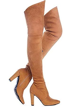 Shoe'N Tale Women Stretch Suede Chunky Heel Thigh High Over The Knee Boots (8)
