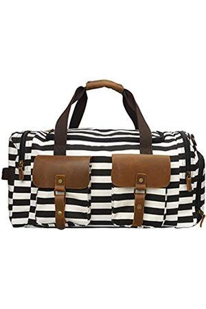 Kemy's Canvas Duffle Bag Übergroße Echtleder Wochenendtaschen für Damen und Herren