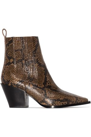 Aeyde Kate 75mm snakeskin ankle boots