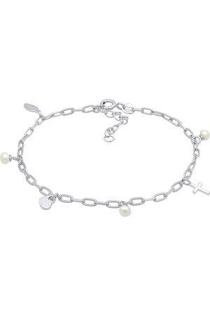 Elli Armband Kreuz Feder Herz Süßwasserperle Charm 925 in , Schmuck für Damen
