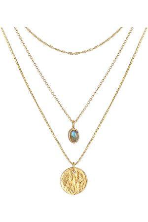 Elli Damen Halsketten - Halskette Layer Labradorit Plättchen Anhänger 925 Silber in , Schmuck für Damen