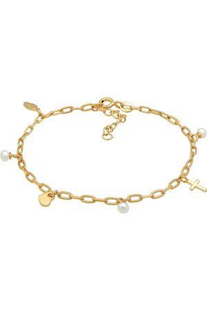 Elli Armband Kreuz Feder Herz Süßwasserperle Charm 925 Silber in , Schmuck für Damen