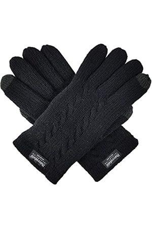 BRUCERIVER Damen Strickhandschuhe aus reiner Wolle mit Thinsulate-Futter und Kabeldesign - Schwarz - X-Large