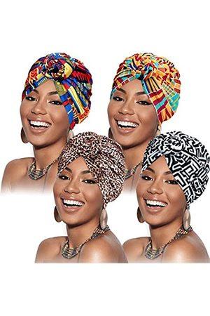SATINIOR 4 Stücke Afrikanisches Muster Headwrap Vorgebundene Haube Turban Knot Kopf Hut (Schwarze Blume mit Leopardenmuster)