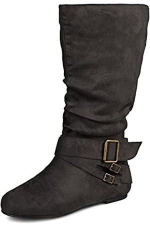 Journee Collection Damen regelmäßige und Wide-Calf Schnalle Slouch, Wadenhohe Stiefel