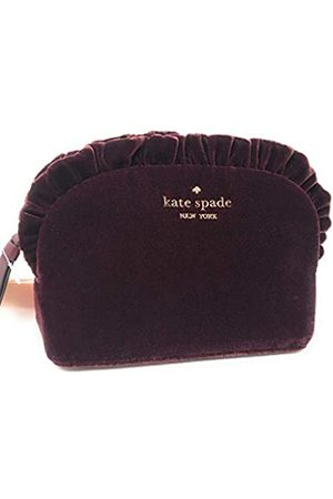 Kate Spade Small Ruffle Velvet Cosmetic Make-Up Clutch Bag Chocolate Cherry