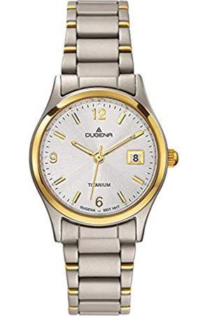 DUGENA Damen-Armbanduhr 4460333 Semper, Quarznes Zifferblatt, Titangehäuse, Mineralglas, Titanarmband, Drückerfaltschließe