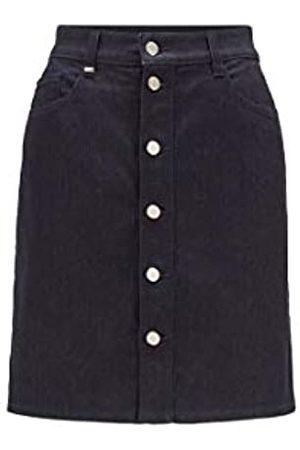 HUGO BOSS Damen Denim Skirt 2.0 A-Linien-Rock aus komfortablem Stretch-Denim mit Knopfleiste