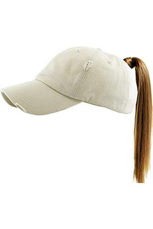MIRMARU Damen Caps - Damen Baseballkappe aus gewaschener Baumwolle, Used-Look, Netzrücken, unordentlich, hoher Dutt, Pferdeschwanz