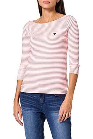 TOM TAILOR Damen 1024035 Stripe T-Shirt, 26034-White Peach Small