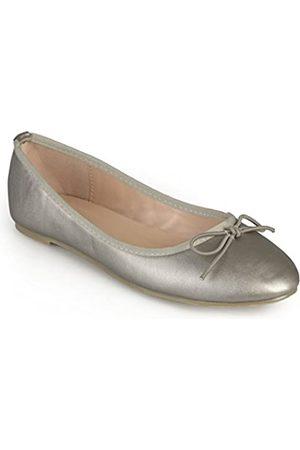 Journee Collection Damen Schuhe Schleife Ballerinas, Silber (zinnfarben)