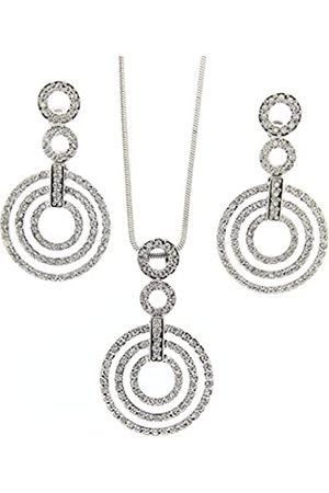 Jean Pierre Damen-Schmuckset Halskette + Ohrringe Glas weiß Rundschliff - HESET4606
