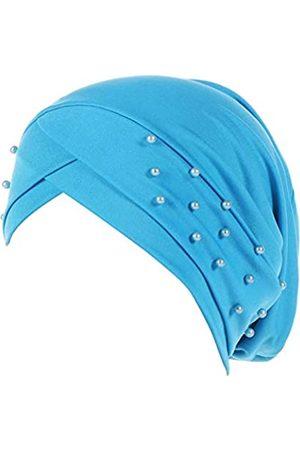 Fxhixiy Frauen Turban Kopf Wrap vorgebundene Perlen seidige Kappe Chemo Beanies Chemo Krebs Haar Cover Hut - Blau - Einheitsgröße