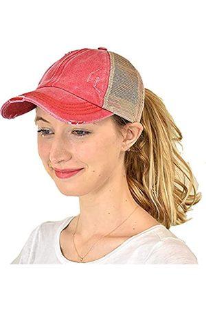C.C Ponycap Messy High Bun Pferdeschwanz Einstellbare Mesh Trucker Baseball Cap Hut - - Einheitsgröße
