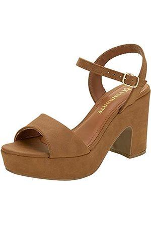 VIA MARTE Damen Sandale Plateau Verstellbar Runde Zehen Komfort Stil Mode (Cinnamon