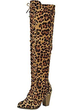 FOREVER Damen Stiefel mit hohem Absatz zum Schnüren über dem Knie, Mehrfarbig (leopard)