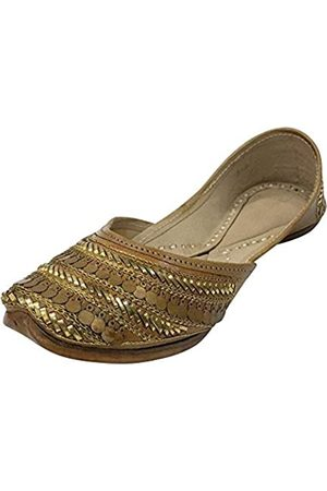 Step N Style Damen Pures Leder Antik Punjabi Jutti Ethno Mojari handgefertigt Khussa Juti, (kupfer)