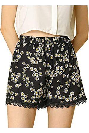 Allegra K Damen Sommer Elastisch Taille Spitze Muster Kurz Hose Shorts XS