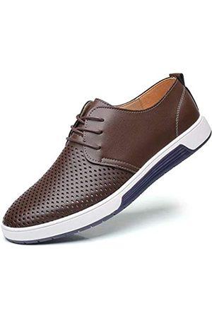 konhill Herren Casual Oxford Schuhe Atmungsaktiv Kleid Schuhe Loafers Schnürer Flache Sneakers, (Lk Kaffee)