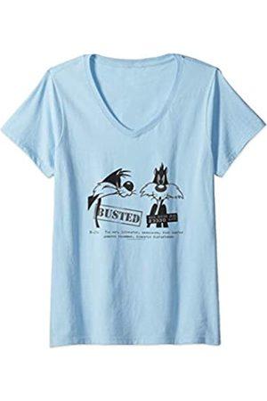 LOONEY TUNES Damen Sylvester Busted T-Shirt mit V-Ausschnitt