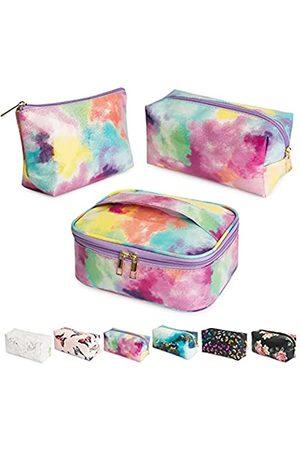 Noozion 3 Stück Make-up-Taschen mit Batikfärbung, Reise-Kosmetiktasche, wasserabweisend, Organizer, tragbare Aufbewahrungstasche