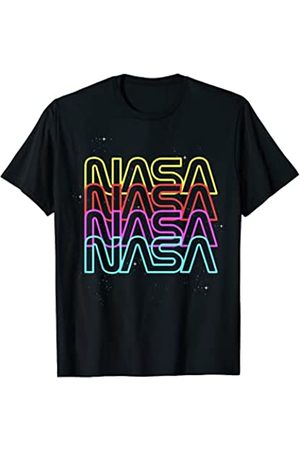 Nasa Neon Rainbow Repeat Text Logo Premium T-Shirt