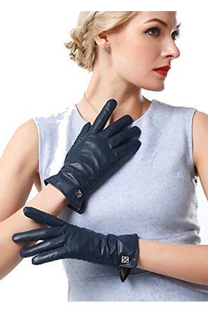 NappaNovum Damen Italienische Lederhandschuhe Lammfell Winter Komfort Handschuhe (Touchscreen oder ohne Touchscreen) - Blau - Large