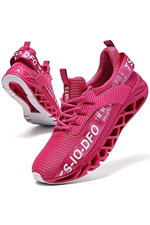 SKDOIUL Sport-Laufschuhe für Herren, Netzstoff, atmungsaktiv, Traillaufschuhe, modische Sneakers, Schwarz (A55 Rose Red)