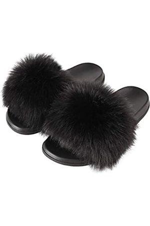 Hangrui Damen Kunstpelz Slides Offene Zehe Süße Pelz Hausschuhe Bequeme Pelz Sandalen mit Flauschigem Fell, ( 1)