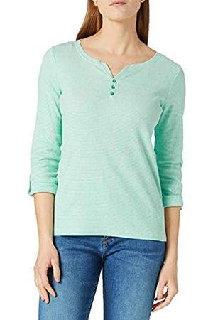 TOM TAILOR Damen Henley Striped 1024036 T-Shirt, 26051-Offwhite Green Small