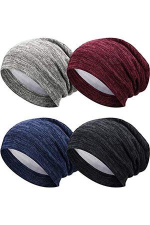 SATINIOR 4 Stücke Satin Gefütterte Schlafmütze Slouchy Mütze Hut Nacht Haarkappe für Frauen ( , Marineblau, Khaki