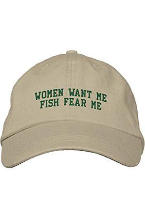 Lxmn Bestickte Mütze Frauen Want Me Fish Fear Me Stickerei Baseball Cap Baseball Hüte Stickerei Dad Hüte Hip Hop Hut - Beige - Einheitsgröße