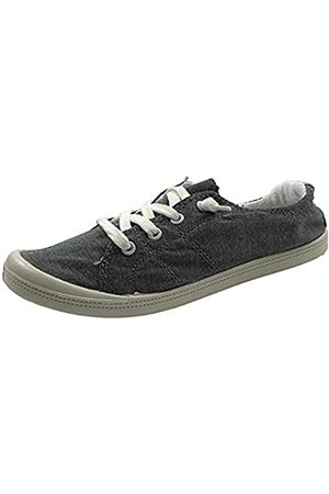 Generic FZ-Comfort-01 Damen Süße Komfort Slip On Flache Ferse Runde Zehen Sneaker Schuhe, Schwarz (anthrazit)