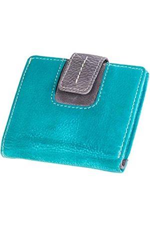 Mika 42185 - Damengeldbörse aus Echt Leder, Portemonnaie im Hochformat, Geldbeutel mit 3 Kartenfächer, 2 Einschubfächer, Scheinfach und Münzfach, Brieftasche in türkis/
