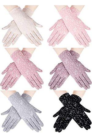 SATINIOR 6 Paar Sommer UV Schutz Handschuhe Blumen Touchscreen Fahrhandschuhe Rutschfester Fahrhandschuhe für Frauen Mädchen