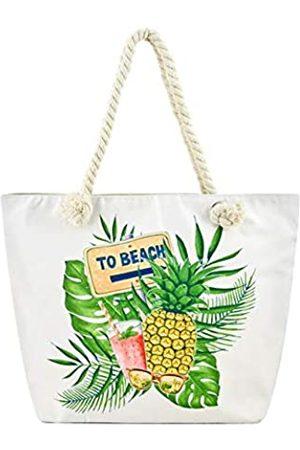 Alady Große Einkaufstasche aus Segeltuch für Strand und Reise., (Ananas 2)