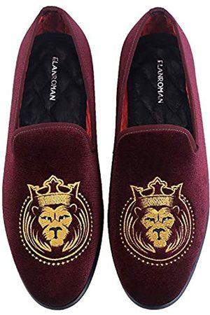 ELANROMAN Loafers für Herren Samt Schuhe der Mode bestickt 1.0 und 2.0 Party Hochzeit Abschlussball Schuhe, (wein)