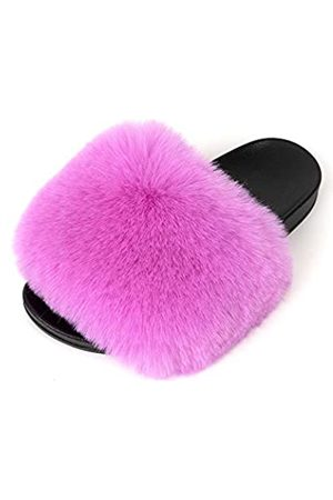 FUNKYMONKEY Damen Slides Faux Pelz Süße Flauschige Hausschuhe Komfort Flache Sandalen, (Dm-b/Lilie)