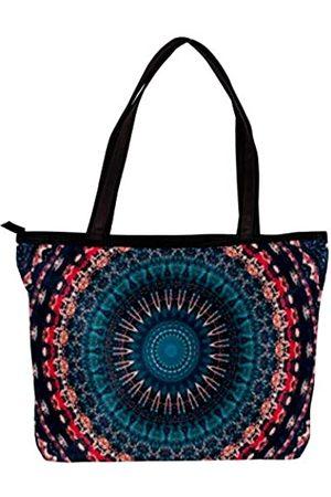 DJROW Mandala-Muster Freizeit große farbige Baumwolltasche Damen Mode Handtaschen für Teenager Mädchen Frauen mit mehreren Innentaschen und Reißverschluss 30 x 10 x 30 cm