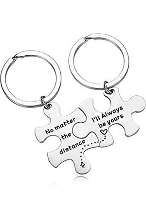 Zuo Bao Schlüsselanhänger für Paare, Aufschrift No Matter The Distance & I'm Always Be Yours, Geschenk für Ehefrau, Ehemann, Freund, Freundin, Schlüsselanhänger