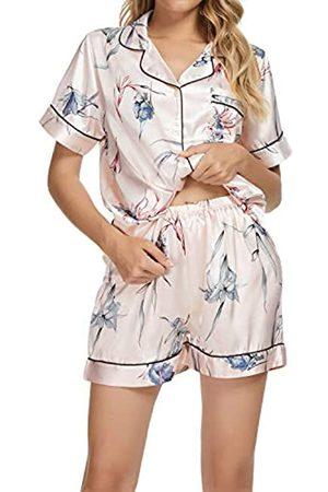 Generic Satin-Schlafanzug-Set für Damen, Blumenmuster, langärmelig, Pyjama, Knopfleiste, seidige Loungewear, 2-teiliges Pyjama-Set