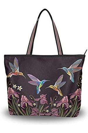 WIHVE Tragetasche für Damen, große Schultertasche, Henkel, (Kolibri-Blume)
